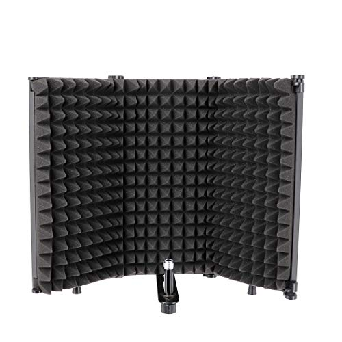 Tlingt Microphone Isolation Shield, All-in-one Piece Studio Recording Microphone Isolation Panel Both for Stand Mount or Table Top