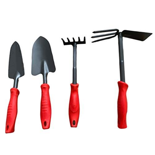 Cabilock Juego de Palas de Jardinería de 4 Piezas Herramientas de Mano de Jardinería Rastrillo de Jardín Pala de Mano Escarda Azadas Mini Herramienta de Jardín para Jardinería de Balcón (Rojo)