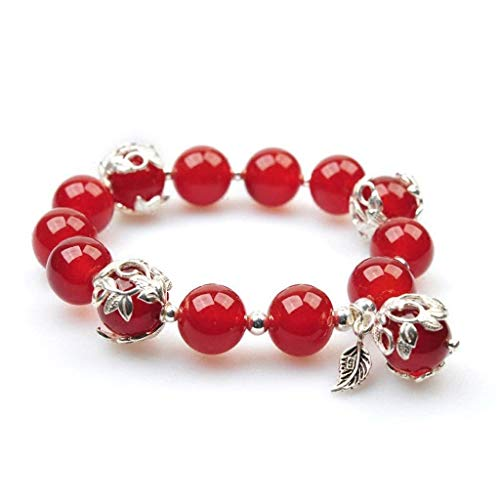GPWDSN Bracelet Natural Red Agate Crystal Sterling Silver Transfer Red Rat Year Bracelet Female Simple Personality Bracelet Jewelry Gift women