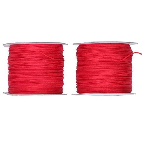 Hilo de nudo chino, cordón de abalorios flexible de mano roja elástico duradero para nudo chino para pulsera
