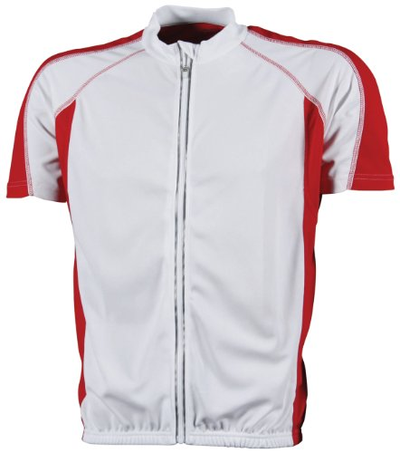 James & Nicholson T-Shirt Bike Camiseta de Ciclismo, Hombre, Blanco/Rojo, XXXL