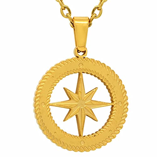 LITMAKERS Kleiner Kompass Anhänger Kompass Kette Premium Schmuck für Damen und Herren 316L Edelstahl Mini Kompass Halskette