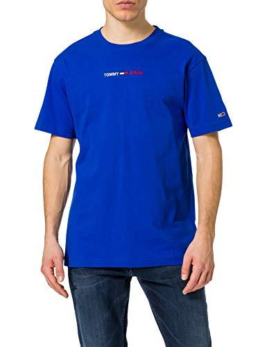 Tommy Jeans TJM Linear Logo tee Camiseta, azul cobalto, L para Hombre