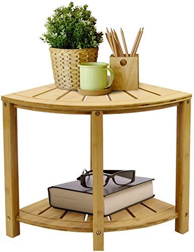 Sorbus Corner Shower Stool Bamboo Bench with Shelf — Waterproof 2-Tier Wood Storage & Seat for Bathroom, Shower, Spa, Sauna