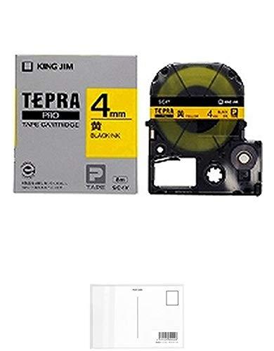 キングジム テープカートリッジ テプラPRO 4mm SC4Y 黄/黒文字 + 画材屋ドットコム ポストカードA