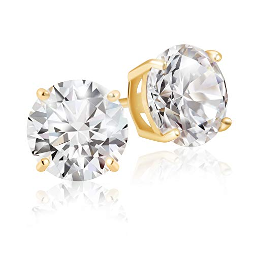 Lusoro 925 Sterling Silver Gold Plated Round Cut AAA Cubic Zirconia Stud Earrings - 2 Carat Total Weight CZ
