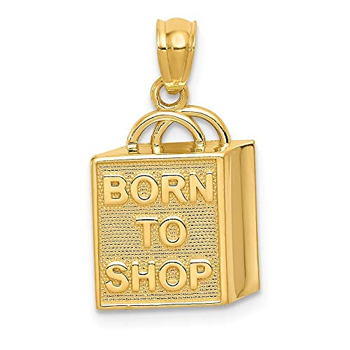 14ct bolsa de la compra Born To Shop lámpara de techo - mide 20,4 x 11,8 mm - JewelryWeb