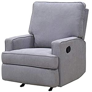 Gliding Rocking Chair Recliner Glider for Nursery Room Armrest Relaxation Upholstery Padded Leg Rest Smooth Rock Functional Accent Chair Modern Comfy Contemporary Bedroom Gray & eBook by NAKSHOP