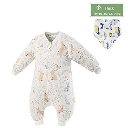 LISI Baby-Schlafsack mit Beinen, Ganzejahres Schläfsack Langarm Baumwolle Schlafstrampler mit Lätzchen für 9-72 Monate Kinder Formaldehyd Frei,C,M