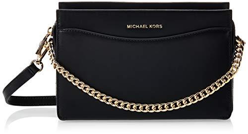 Michael Kors Shoulderbag, Borsa a Tracolla Pelle Nera-Nero, S Donna, Black, Einheitsgröße