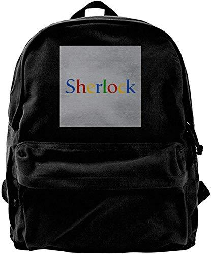 Homebe Canvas Backpack Sherlock Holmes Google Rucksack Gym Hiking Laptop Shoulder Bag Daypack for Men Women