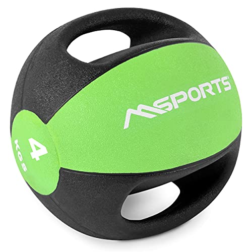 Balón medicinal Premium con asas 1 - 10 kg - Balones de ejercicio profesionales con calidad de gimnasio, pelota medicinal