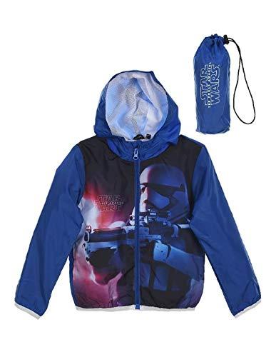 Star Wars Veste à Capuche imperméable avec Sacoche Enfant Bleu de 4 à 10ans - Bleu, 4 Ans