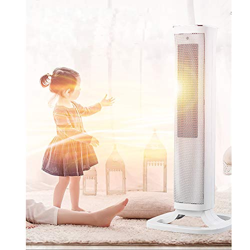 41m3Dg5KkIL. SS500  - Oscillating White Tower Fan Heater -2000W Ceramic PTC - Thermostat, 3 gears adjustable, LED Display, Portable Design…