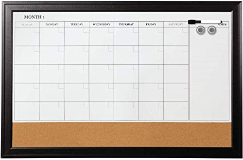 White Board - Magnetic Calendar White Board Bulletin Corkboard Combination Combo Board 36 x 24 Inch Black Aluminum Frame Wall Mounted Board for Office Home and School with 10 Push Pins