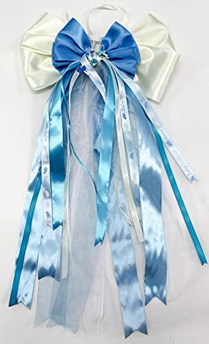 CaPiSo 30 x 50 cm bebé lazo listo sin manualidades, con chupete y cochecito de bebé, lazo de satén, nacimiento, bautismo, pastel de pañal (30 x 50 cm), color crema y azul claro