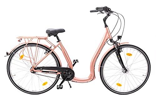 28 Zoll Alu Fahrrad City Bike Damen 7 Gang Nabenschaltung Tiefeinsteiger Kupfer