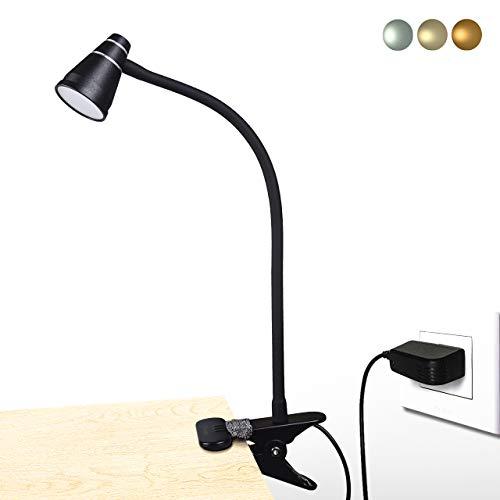 CeSunlightクリップライト led デスクライト 3段調色(暖色/昼光色/白色) 11段調光 USB式 自由調整できるグースネック, 読書灯 卓上ライト ナイトライト, 2m USBコードとACアダプタ付属(黒)