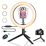 Ring Light with Stand, BlitzWolf 10.2' Selfie Ring Light with Tripod Stand and Phone Holder, Dimmable Makeup LED Ring Light with Remote Control for Live Streaming/YouTube/Video Recording/Photography