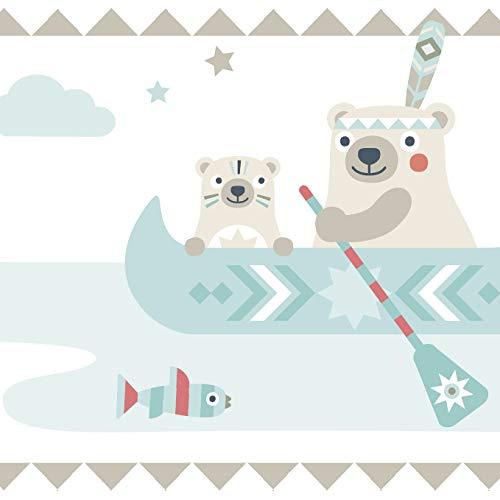 Anna Wand Bordüre selbstklebend Little Indians BEIGE/TÜRKIS/ROT - Wandbordüre Kinderzimmer/Babyzimmer mit Indianermotiven & Tieren - Wandtattoo Schlafzimmer Mädchen & Junge, Wanddeko Baby/Kinder