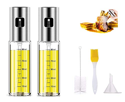 Mydio 2 PCS 100ML Oil Sprayer Dispenser,Stainless Steel Grilling Oil Dispenser Bottles with Funnel and Cleaning Tools for BBQ,Baking,Salad,Cooking,Camping,Kitchen Tools