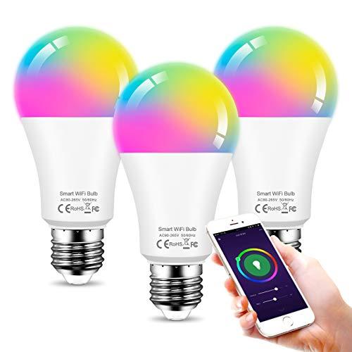 Smart LED Lampe E27 12W Wifi Lampen RGBW Wlan Birne Kompatibel mit Alexa Google Home, 1150 lm, Farbige Glühbirne, Timing Funktion, 2700K Dimmbare via App, Ohne Hub Benötig - 3Pack