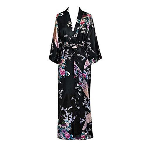 LXDWJ Pavo Real de Mujeres Kimono Robe Atractiva Floral Bridal Robas de Dama de Honor Mujer Flor Fiesta Boda Larga Ropa de Dormir Albornoz (Color : D, Size : XX-Large)