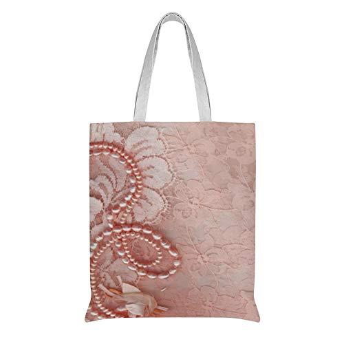 wuhandong Personalisierbare Canvas-Tasche mit Perlen und Spitze, für Hochzeit, Pfingstrose, rosa Papierteller, Baumwolle, Schultertasche, Geburtstagsgeschenk