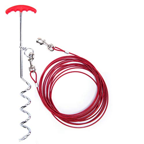 Dog Tie Out Cable and Stake 30 ft Outdoor, Yard and Camping, for Small to Medium Dogs Up to 60 lbs, 16' Stake, 30 ft Cable Runner for Yard