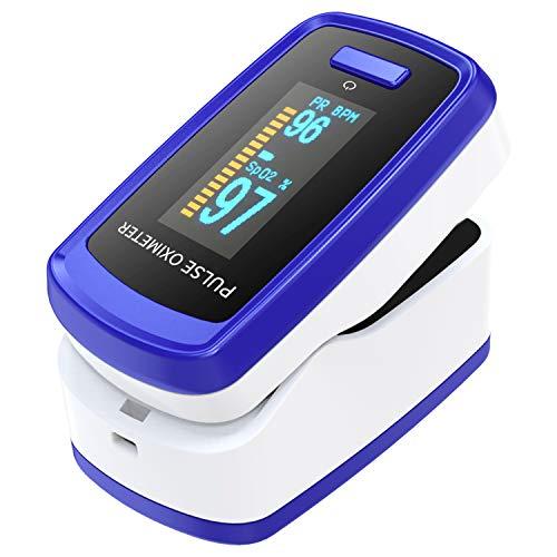 Oximetro dedo, oxímetro, medidor de oxigeno en sangre con gráfico de barras de pulso, pulsioximetro con pantalla OLED de lectura digital portátil, medidor saturacion oxigeno para deportes y fitness
