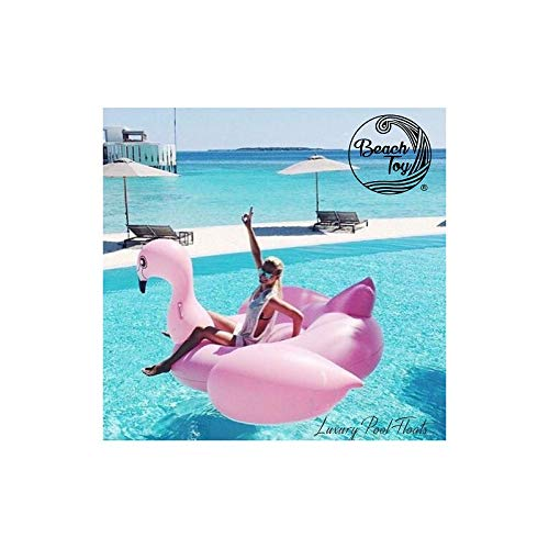 Beachto opblaasbare matras Light Pink Flamingo voor 2-3 personen, 190 x 190 x 130 cm