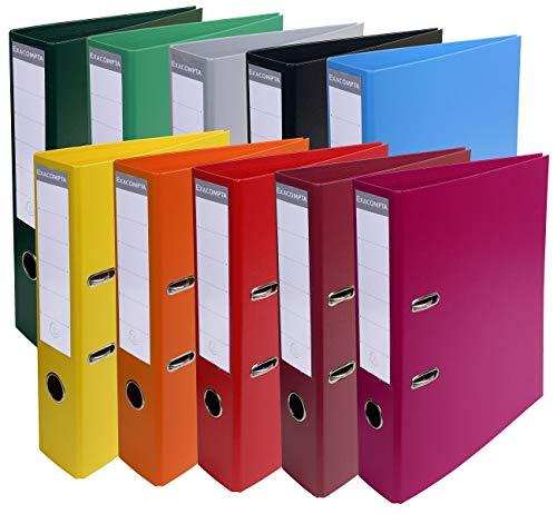 Exacompta - Réf. 53074E - Carton de 10 Classeurs à levier A4 Prem'Touch - Dos de 70 mm - Mécanique 75 mm - Dimensions extérieures : 32 x 29 x 7 cm - Format à classer A4 - 10 couleurs vives assorties