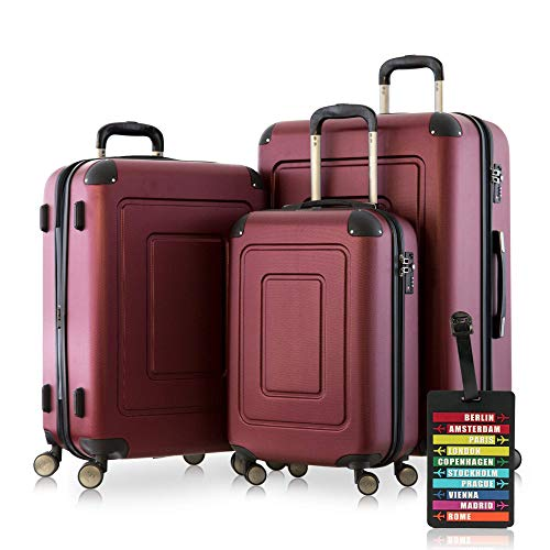 Happy Trolley - 3er Koffer-Set Trolley-Set Rollkoffer Hartschalen-Koffer Reisekoffer Lugano sehr leicht, TSA, (S, M & XL), Burgund +HT Kofferanhänger