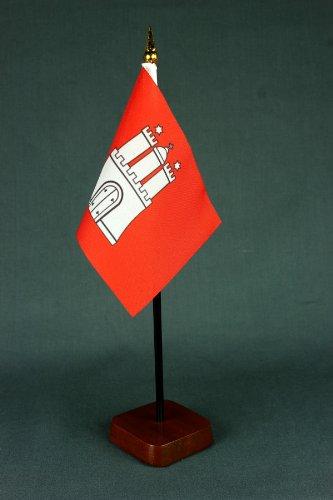 Buddel-Bini Kleine Tischflagge Hamburg 15x10 cm mit Tischflaggenständer 30 cm aus Holz, sehr standfest