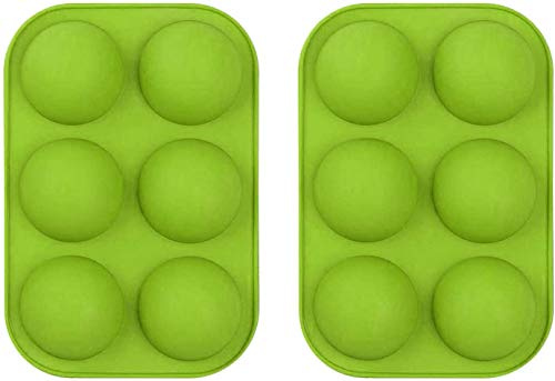 Silicone Molds For Baking Chocolate Mold 6 Holes Round Silicone Baking Mold,Half Ball Sphere Silicone Cake Mold Muffin Chocolate Cookie Baking Mould Pan (2pcs Green)