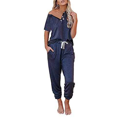 I3CKIZCE - Tuta sportiva da donna, set da 2 pezzi con maglia e pantaloni da jogging, S-3XL Marine-c XL