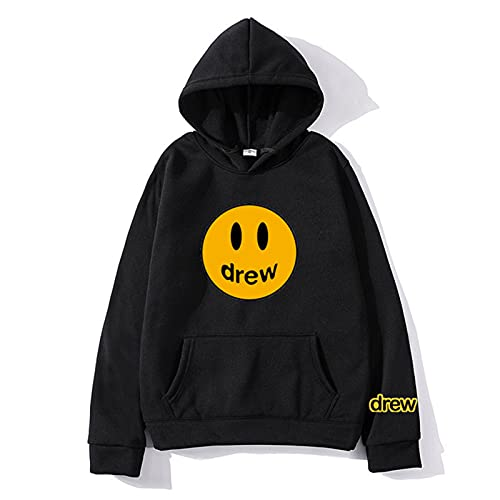 Smiley Face Hoodie Sweater Trendy Couples Hooded Sweatshirts Pullover Hooded For Women Teens Youth Balck XL