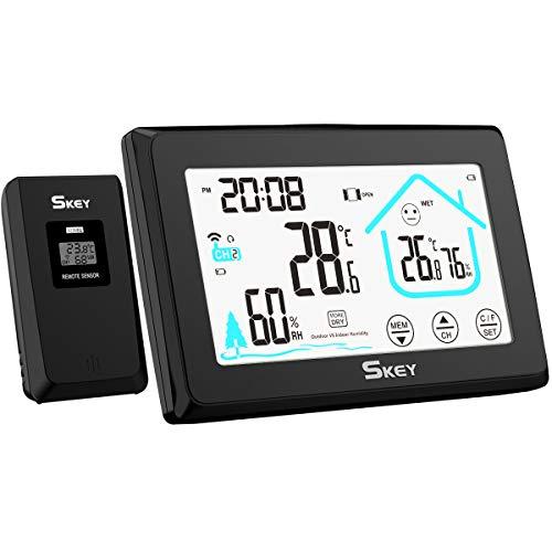 SKEY Wetterstation Funk mit Außensensor, Digital Touchscreen LCD-Anzeige Thermometer Hygrometer für innen und außen, Lüftungsempfehlung, Farbdisplay mit Aktuelle Uhrzeit & Hintergrundbeleuchtung