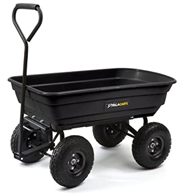 Gorilla Carts GOR200B Poly Garden Dump Cart with Steel Frame and 10-Inch Pneumatic Tires