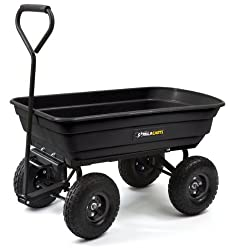Gorilla Carts Poly Garden Dump Cart with Steel Frame and 10-in. Pneumatic Tires, 600-Pound Capacity