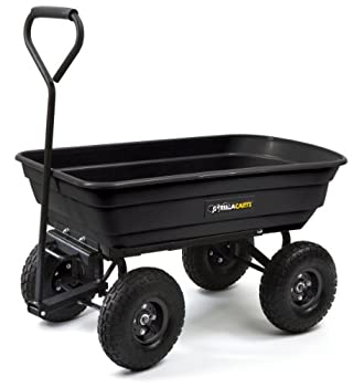 Gorilla Carts GOR200B Poly Garden Dump Cart with Steel Frame and 10-Inch Pneumatic Tires 600-Pound Capacity 36-Inch by 20-Inch Bed Black Finish