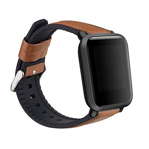 kwmobile Pulsera Compatible con Huami Amazfit Bip/Bip Lite - Correa marrón/Negro de Cuero y Silicona para smartwatch