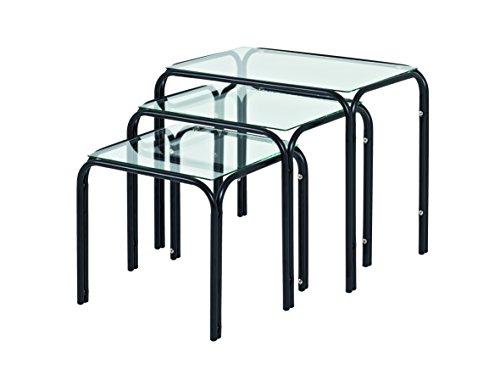 Haku Moebel lot de 3 tables, Acier/Verre, Noir, 30x46x38 cm