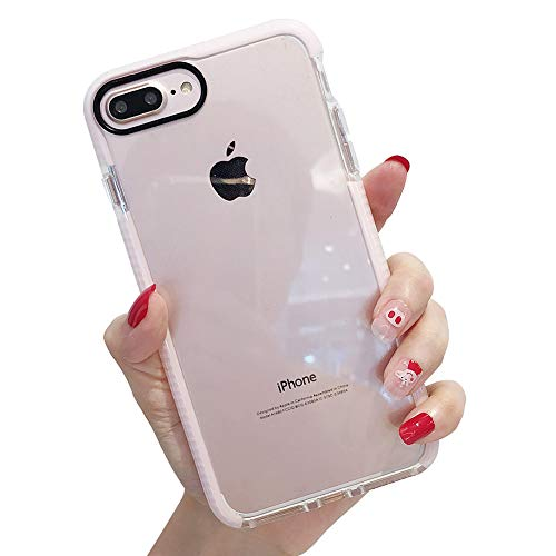KERZZIL iPhone 8 Plus Case, iPhone 7 Plus Case, Clear Anti-Scratch Shock Absorption Full Protective Cover Case Compatible for Apple iPhone 8 Plus/iPhone 7 Plus - Pink Clear