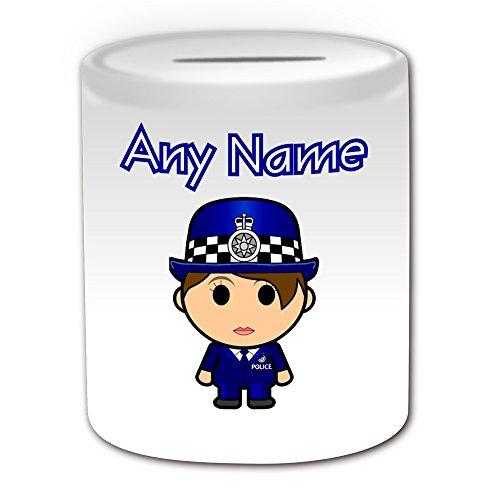 Regalo personalizado – Hucha de pelo marrón con diseño de carrera, color blanco – Cualquier nombre/mensaje en tu única – Ahorro de cerdito – Gorro de policía – PCSO Policewoman Hat Cap Azul Ocupación uniforme