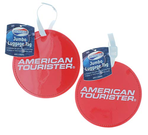 American Tourister Jumbo Luggage Tag Set of 2 Round Red ID Suitcase