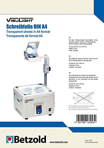 VISULIGHT 7800 - Overhead-Folien, Transparentfolien DIN A4 - 100 Schreibfolien, 75 mic - Zubehör Overhead-Projektor OHP-Folie
