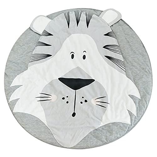 Cowslip Alfombra de juegos para bebé de algodón, alfombra de animales tridimensional, alfombra de juegos para bebés, alfombra de juegos suave con dibujos animados para niños, redonda y portátil