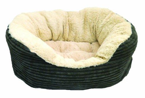 Rosewood 04301 Hundebett aus breitem Cord/Plüsch, grau, Länge: 63.5cm