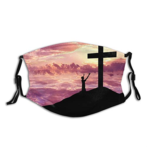 in The Clouds Praye Jesus Cross Christian Religion Print Fashion Sport for Work School Sun Uv Protection Balaclava Face Mask Mouth Protection Cotton with 2 Filters for Cycling Travel Outdoors